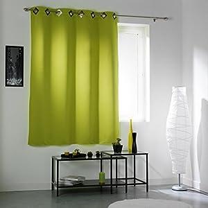 rideau occultant oeillets 140x180 cm bulle vert anis cuisine maison. Black Bedroom Furniture Sets. Home Design Ideas