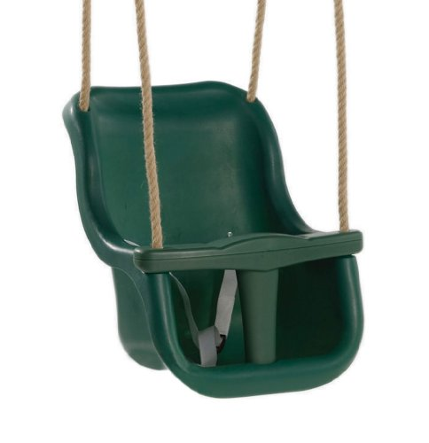 Garden Games 2 Part High Backed Baby Swing Seat (Green) with Natural Poly Hemp Ropes