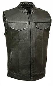 Leather King Men's Open Neck Club Vest (Black, XX-Large)