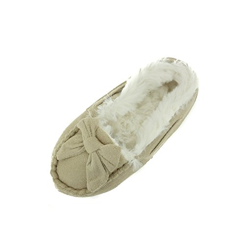 Chatties Girls Moccasin Slippers with Faux Fur Lining, Tan,