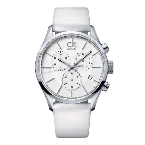 Calvin Klein K2H27101 - Reloj cronógrafo de cuarzo para hombre, correa de cuero color blanco