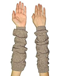 Womens Warm Winter Long Ribbed Knit Thermal Arm Warmers one size Light Brown
