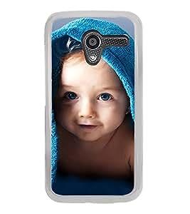 Cute kid with Blue Towel 2D Hard Polycarbonate Designer Back Case Cover for Motorola Moto X :: Motorola Moto XT1052 XT1058 XT1053 XT1056 XT1060 XT1055