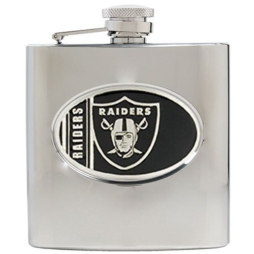 Nfl Oakland Raiders 6Oz Stainless Steel Hip Flask