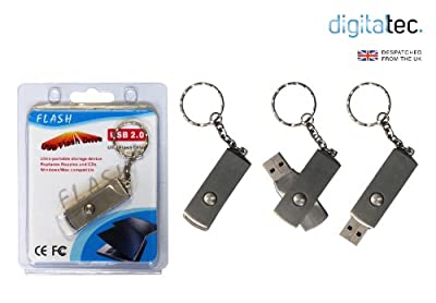 MINI METAL STEEL USB FLASH MEMORY STICK PEN DRIVE 4GB - With Key Ring Flash Drive from Digital Tec