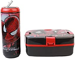 Cello Spiderman Combo Plastic Lunch Box Set, 2-Pieces, Black/Red