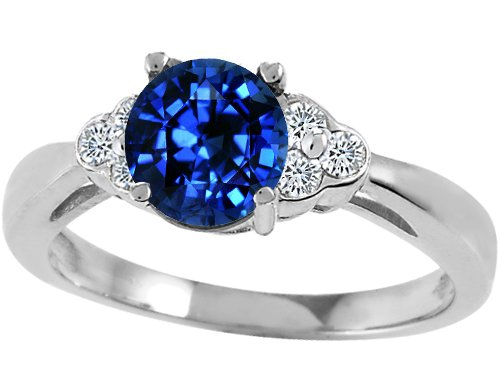 Tommaso Design(tm) Round 7mm Created Sapphire and Genuine Diamond Engagement Ring