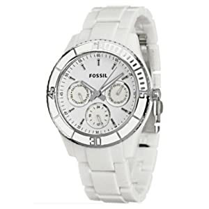 Fossil Women's ES2540 White Resin Bracelet White Analog Dial Multifunction Watch