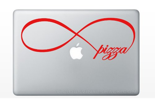 Infinity Symbol With The Word Pizza Inside (Red) Vinyl Decal Sticker For Macbook Laptop Car Love Forever Peacock Bird Sparrow Always Food Pie Italian Sauce Pepperoni Sausage Sicilian Round College Delicious