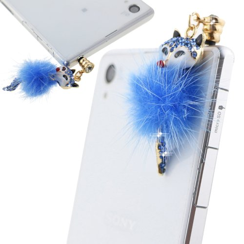 Ancerson Golden Blue Furry Fox Pendant Bling Shining Cute Crystal Diamond Rhinestone Universal Fashion 3.5Mm Anti Dust Earphone Jack Plug Stopper For Ipod Touch 2 3 4 5, Iphone 3 3G 3S 4 4S 5 5C 5S,Samsung Galaxy S4 I9500/ S4 Mini/ S5 I9600/ S3 I9300/ S2/