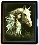 Green Dress Woman Horse Cigarette Case Art Nouveau