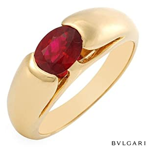 Bulgari 18K Yellow Gold 1.05 CTW Ruby Ladies Ring. Total Item weight 6.2 g.