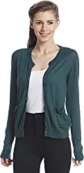 ONLY Women's Green Colored Casual Cardigan (15109260-JuneBug_Medium)