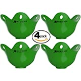 Silicone Egg Poacher - 4 Pack - Cookware Cups For Cooking Perfect Poached Eggs In Minutes! Replaces Your Microwave Egg Cooker / Egg Rings / Egg Boiler / Omelette maker, Its a Must Have Kitchen Gadget