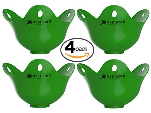 Egg Poacher Pack of 4 – Silicone Egg Poachers For Cooking Perfect Poached Eggs In Just Minutes! Replaces Your Egg Cooker / Egg Rings / CookWare / Microwave Egg Cooker, Its a Must Have Kitchen Gadget