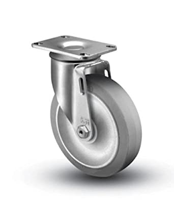 "Colson Swivel Caster with 3-1/2"" x 1-1/4"" Soft Gray TPE Wheel 2-3256-445 by Hi-Tech / Encore"
