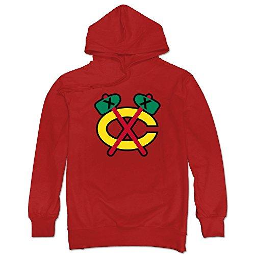 JUST Men's Retro Hammer Logo Chicago Blackhawks Hoodies Red