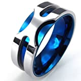 Konov Jewellery Mens Stainless Steel Ring, 8mm Classic Band, Color Blue Silver, Size Z (with Gift Bag)