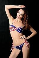 NewNow Two-Piece Stars and Stripes Padded Twisted Bandeau Tube American Flag Swimwear Bikini BRA L
