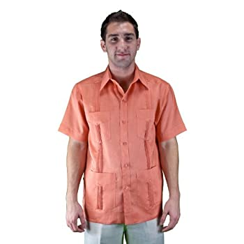 100% Linen short sleeve salmon Guayabera shirt