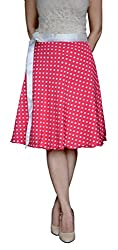 DeeVineeTi Polka Print Women's Wrap Around Pink Skirt, FreeSize