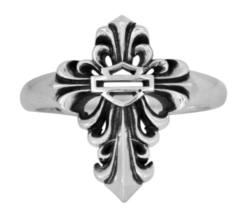 Harley-Davidson Womens .925 Silver Filigree Cross Ring by Mod Jewelry®