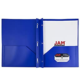 JAM Paper® Plastic 2-Pocket Folders - Eco Friendly Folder with Clasps - Deep Blue - Sold Individually