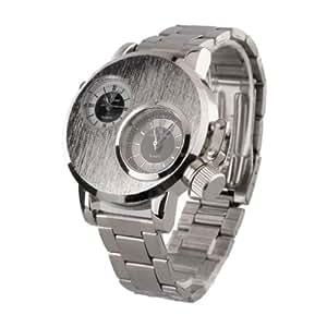 Baolihao-Gemini - Dual Pc Movement Dual Black Dial Silver Case Black Alloy Band Wrist Watch Wth0356