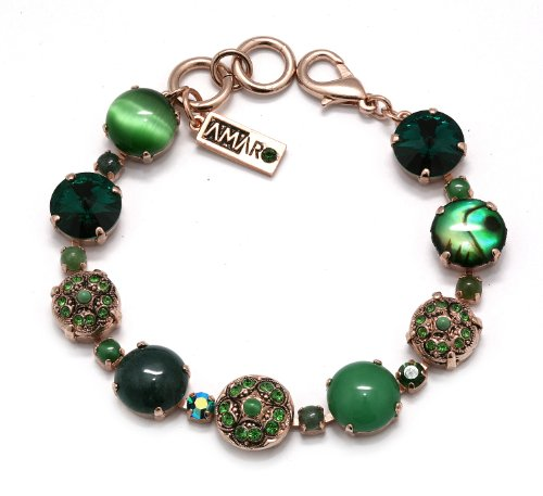 'Deep Forest' Collection 24K Rose Gold Plated Fabulous Bracelet Designed by Amaro Jewelry Studio with Jade, Green Moss Agate, Abalone, Labradorite, Aventurine and Swarovski Crystals