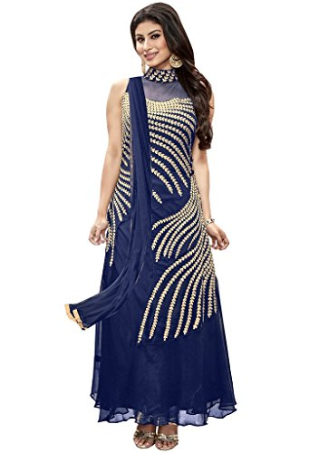 69254718f Style Mania Blue Colored Faux georgette Embroidered Salwar Suit Price in  India