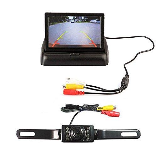 ROGUCI-43-Zoll-Falz-invertierte-Anzeige-Seitenspiegel-Rckfahrkamera-TFT-LCD-Monitor-Backup-Reverse-Monitor-Night-Vision-Auto-Kamera-System-lange-Reihe-von-Autos-Paket