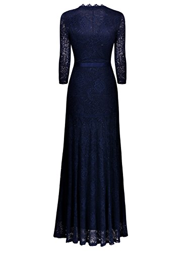 Miusol Women's Floral Lace 2/3 Sleeves Long Bridesmaid Maxi Dress (X-Large, Navy Blue)