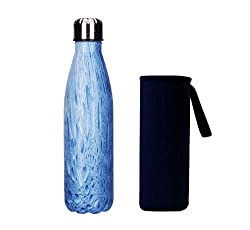 Yeevion Stainless Steel Water Bottle Insulated Hot Cold Cola Bottle Carrier Blue