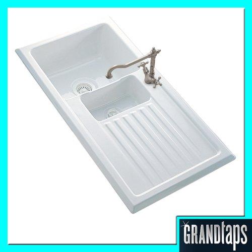 Reginox Ceramic Inset Kitchen Sink 1.5 Bowl With Revesible Drainer (RL301CW)