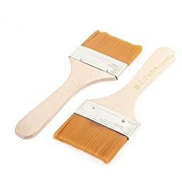 uxcell Wooden Handle Oil Painting Brushes 65mm x 35mm Bristles Head 2 Pcs