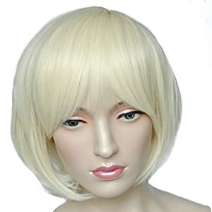Namecute Cosplay Wig Short Blonde Bob Wigs for Women Full Cap Heat Resistant Synthetic Fibre