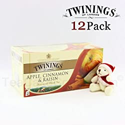 Twinings Black Tea Apple Cinnamon & Raisin Tea / 25 Tea Bags / 50g / 1.8oz. (12 Packs) [Holiday Bonus Pack - includes one santa bear]