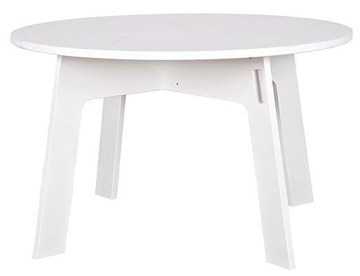 Table à manger ronde blanche, H 77 x D 129 cm - PEGANE -