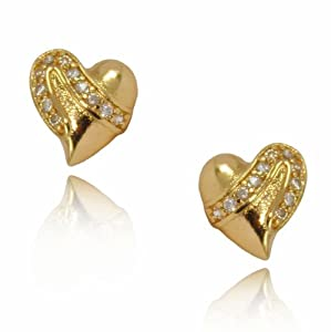 Womens Heart Shaped 9ct Gold Filled Stud Earrings with White Cubic Zirconia