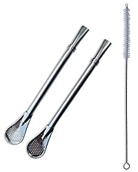 2 Cocktail Bombilla Filtered Straws Dependable Stainless Steel made to Filter Sediment -1 Cleaning Brush Drinking Straw For Gourd Mate Yerba Loose Leaf Tea Mojitos Infused Drinks FDA Safe 3 Piece Set