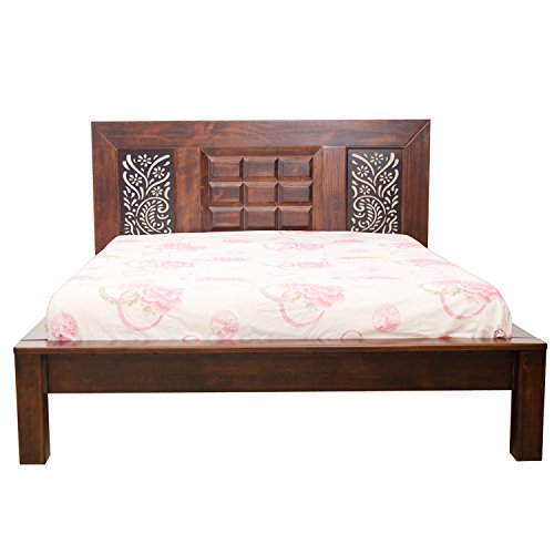 Woodbeei Indiana Western Queen Size Bed (Rustic Walnut)