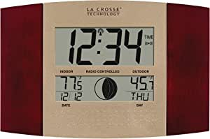 La Crosse Technology WS-8117U-IT-C Digital Wall Clock, with Temperature and Moon Phase