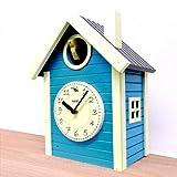 日本製 さんてる 北欧カラー 鳩時計 ブルー・QL694BL