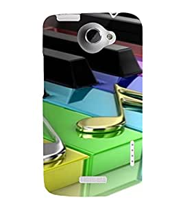 PrintVisa Colorful Music Piano Design 3D Hard Polycarbonate Designer Back Case Cover for HTC One X
