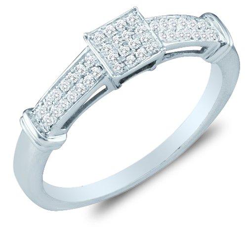 10K White Gold Diamond Engagement Ring – Square Princess Shape Center Setting