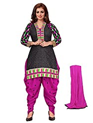 Divisha Fashions Black and Pink Embroidered Cotton Dress Material with dupatta