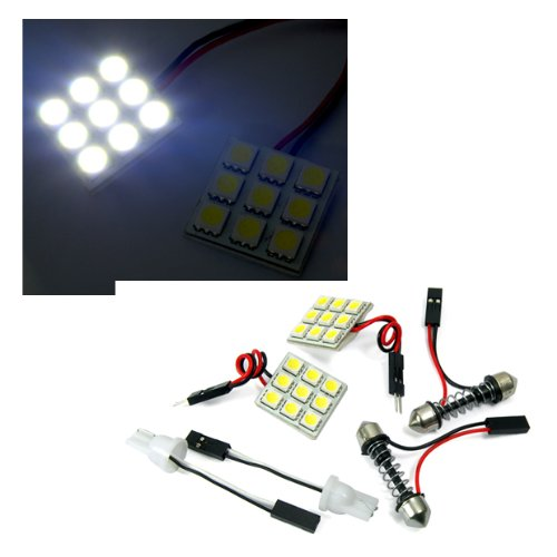 9Smd Led Circle Panel Xenon Hid Light Lamp Super White Dome Map Interior Light Bulb Trunk/Courtesy/Side Door Lights/Wedge Bulbs/Indicator Lights