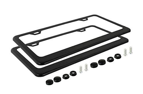 Ohuhu-2-Matte-Black-Powder-Coated-Aluminum-License-Plate-Frame-Black-Screw-Caps