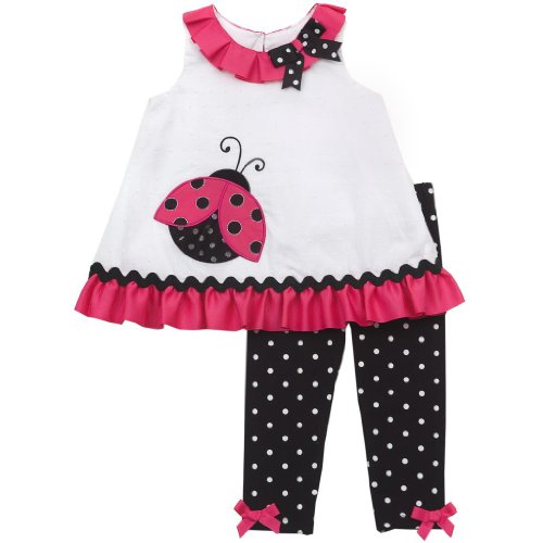 Rare Editions Baby 3M-9M White Clipdot Ladybug Applique Dress / Legging Set
