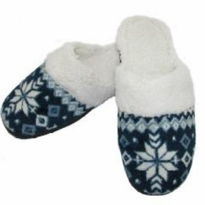 Cheap Isotoner Womens Navy Blue Snowflake Clog Slippers (081712-73)